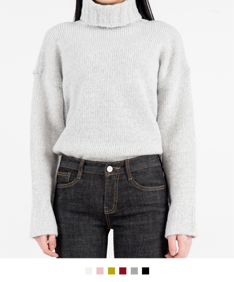 Loose Fit Turtleneck Knit Sweater