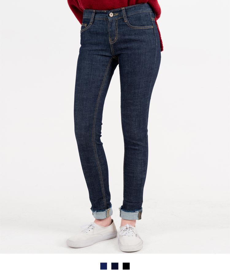 Roll-Up Hem Contrast Stitch Slim Jeans