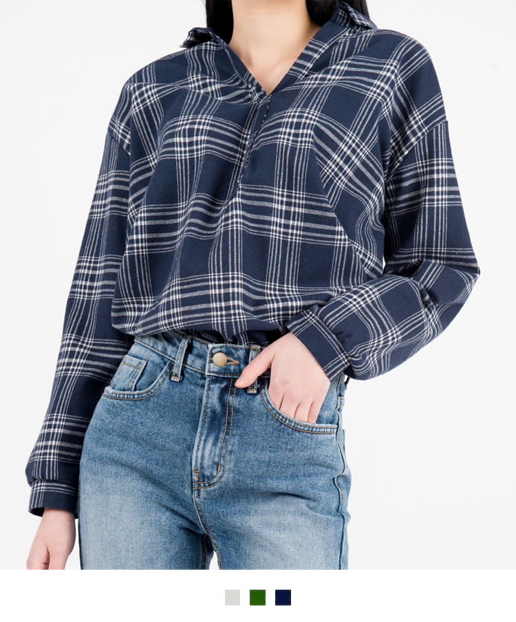 Check Johnny Collar Shirt