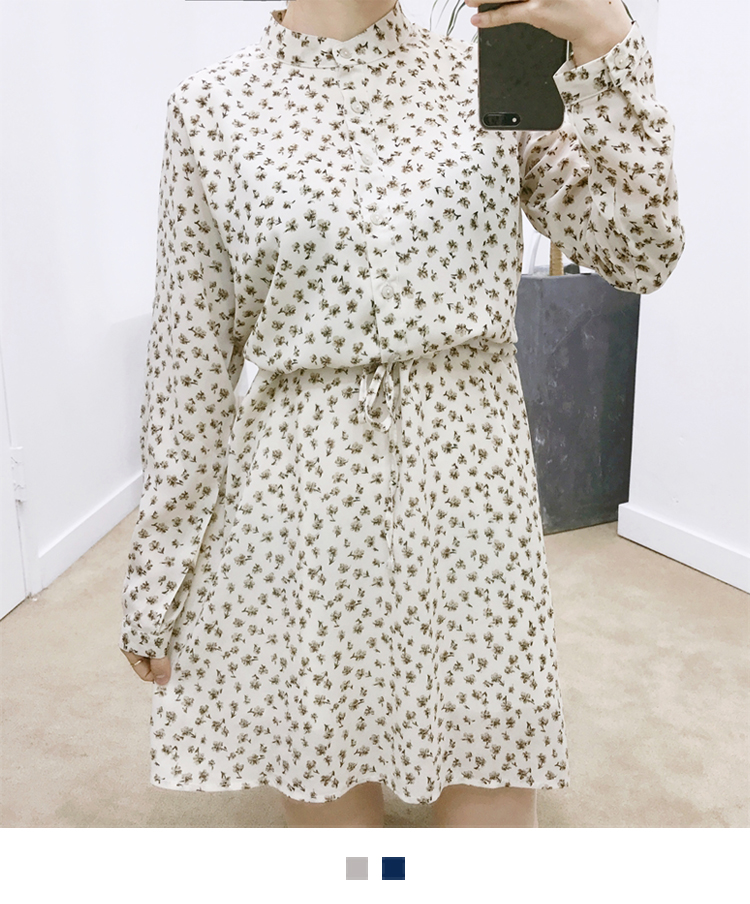 Floral High Neck Tie-Waist Shirt Dress