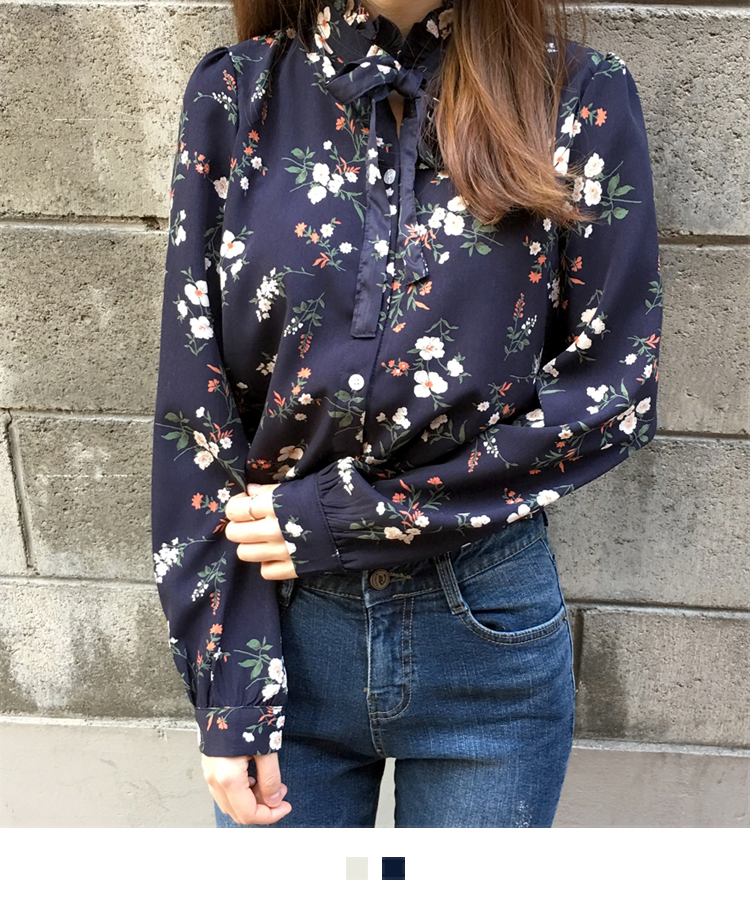 Floral Tie-Neck Button-Down Blouse