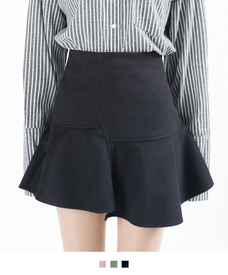 Paneled Flared Mini Skirt