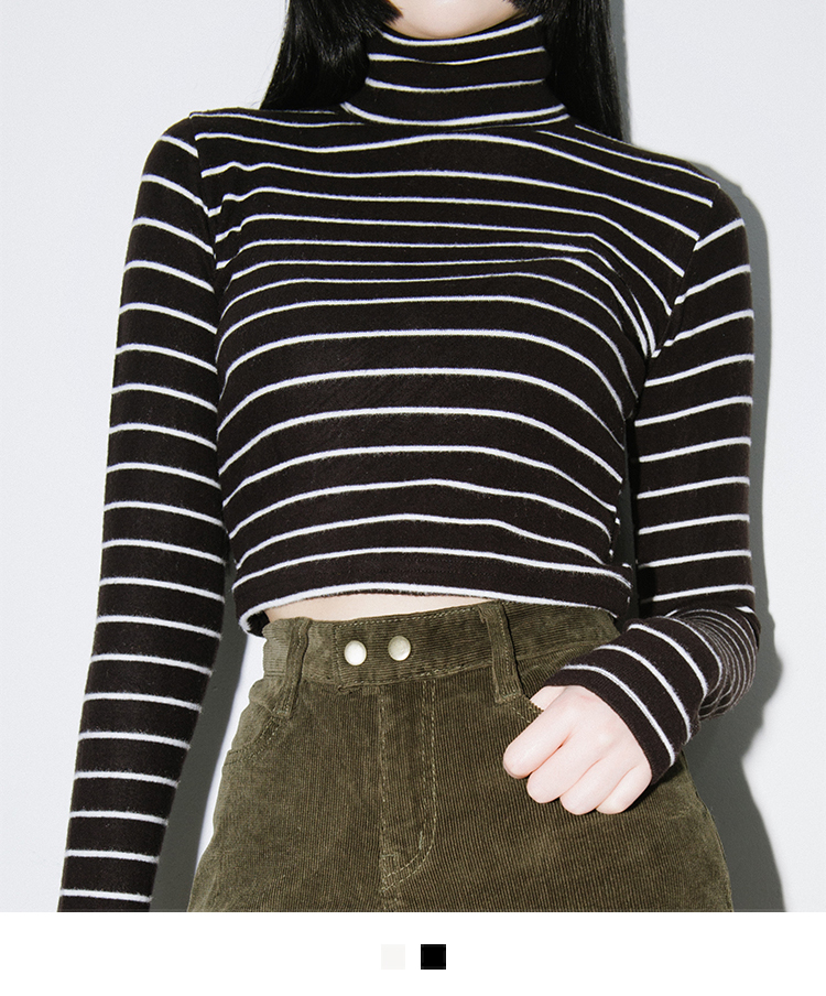 Striped Turtleneck Crop Top