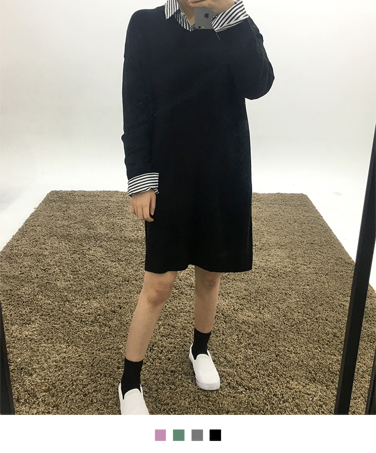 Loose V-Neck Knit Dress
