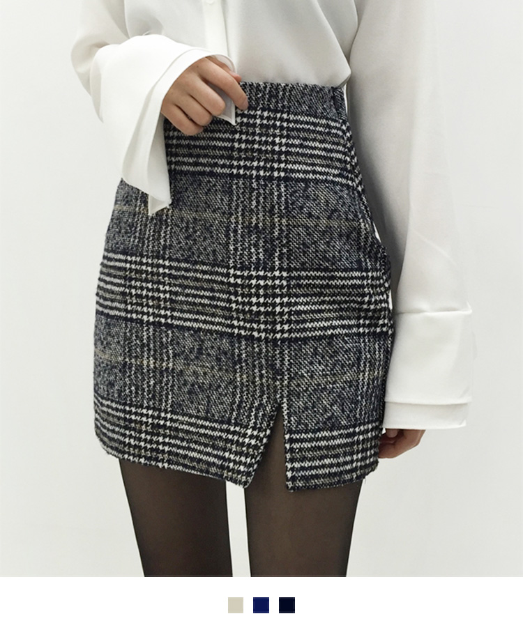Glen Plaid Check H-Line Mini Skirt