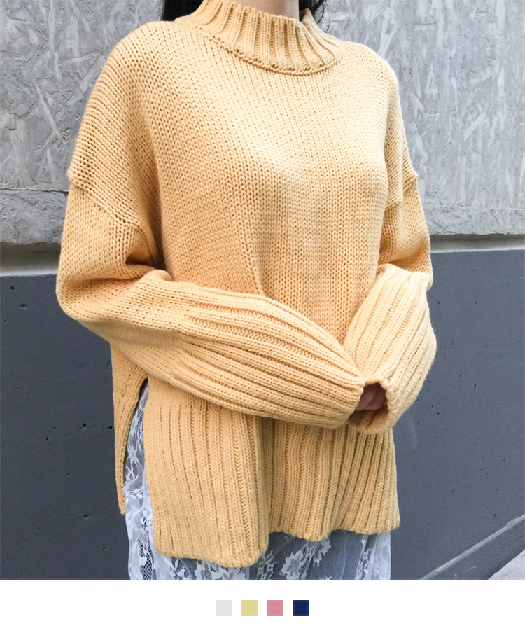 Mock Neck Ribbed Edge Knit Sweater