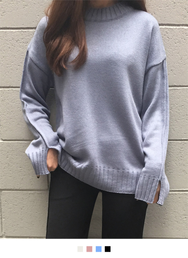 Ribbed Edge Loose Fit Knit Sweater