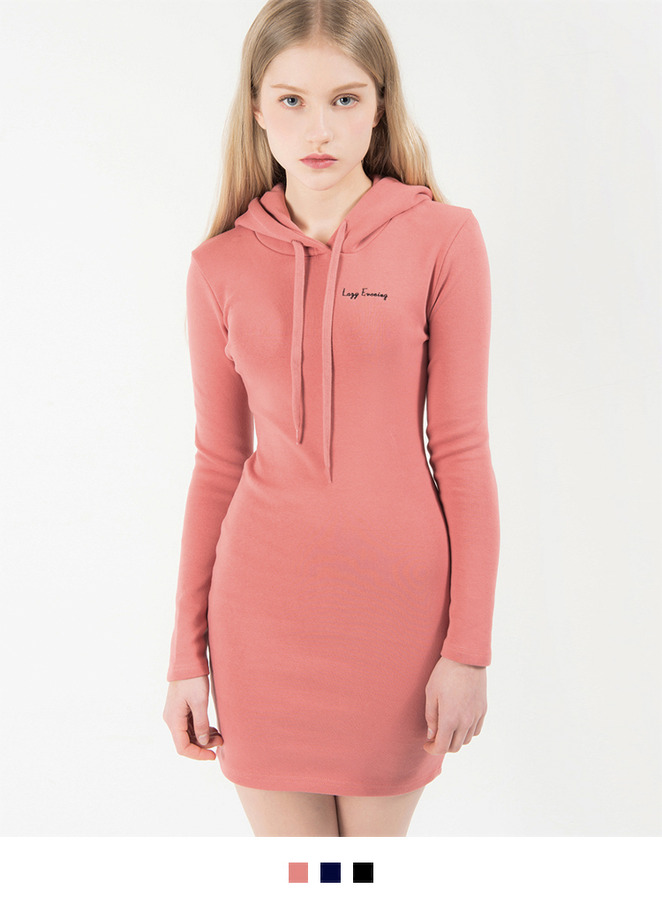 Hooded Slim Fit Mini Dress
