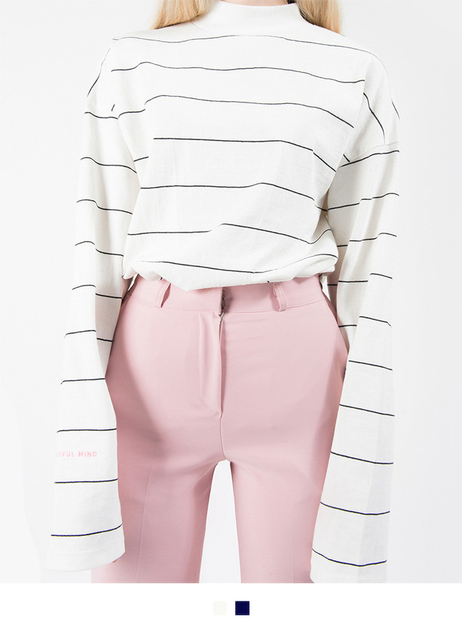 Stripe Print Mock Neck Top