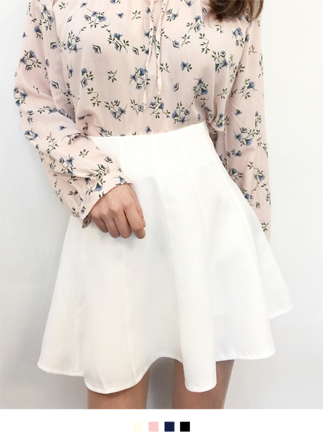 Solid Tone Flared Mini Skirt