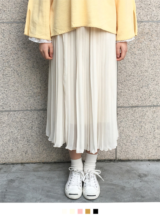 Basic Accordion Pleated Midi Skirt