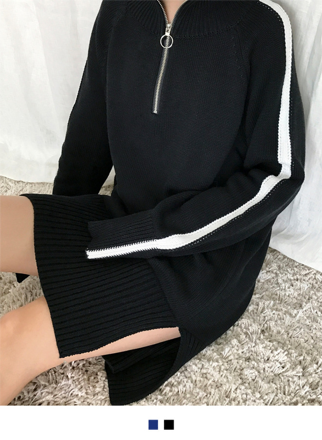 Zip-Neck Knit Dress