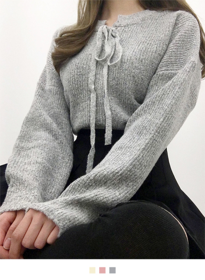 Lace-Up Front Knit Sweater