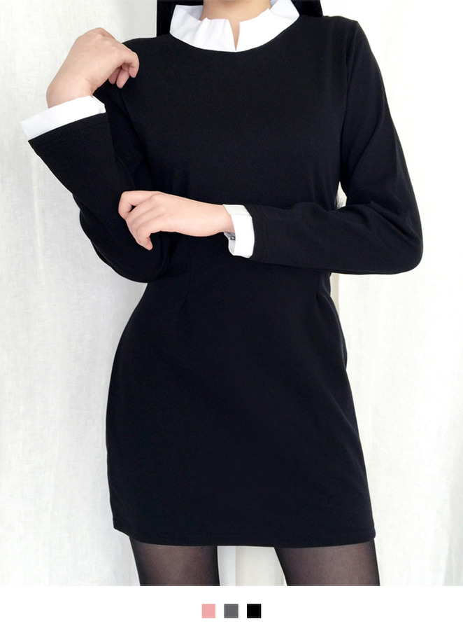 Contrast High Collar Mini Dress