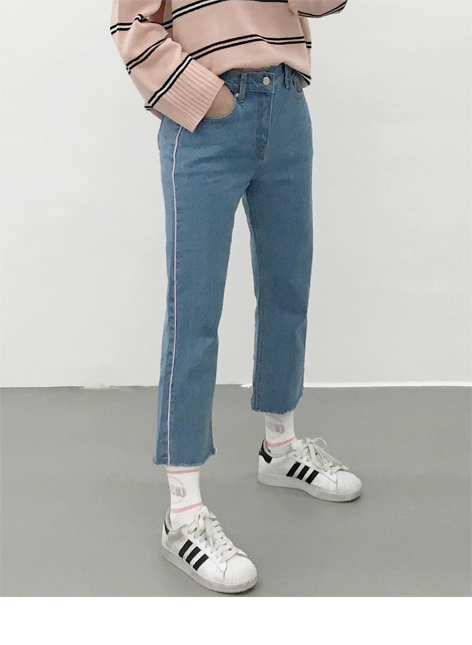 Piped-Trim Cropped Jeans