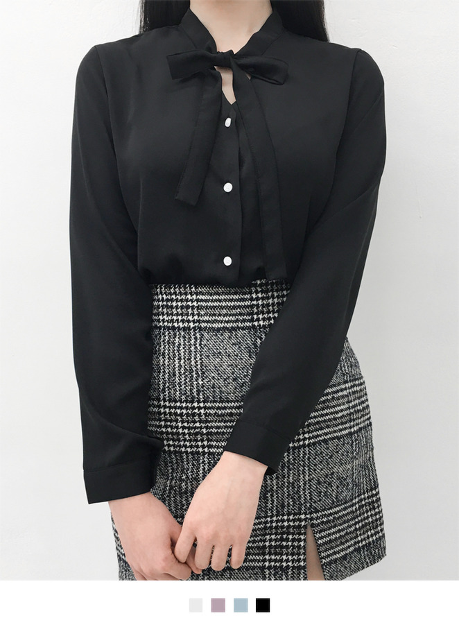 Tie-Neck Button-Front Blouse