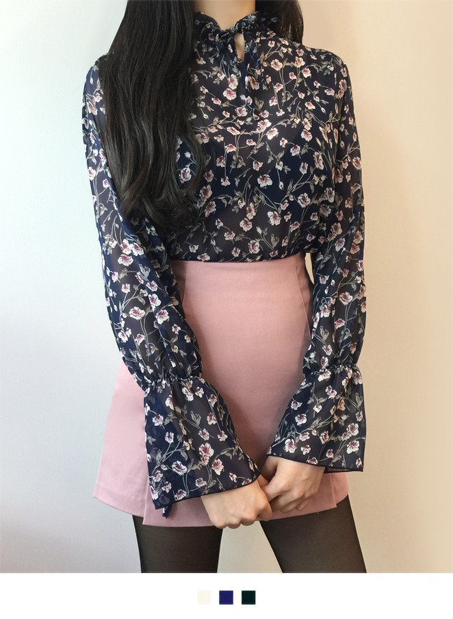 Floral Print Drawstring Neck Blouse
