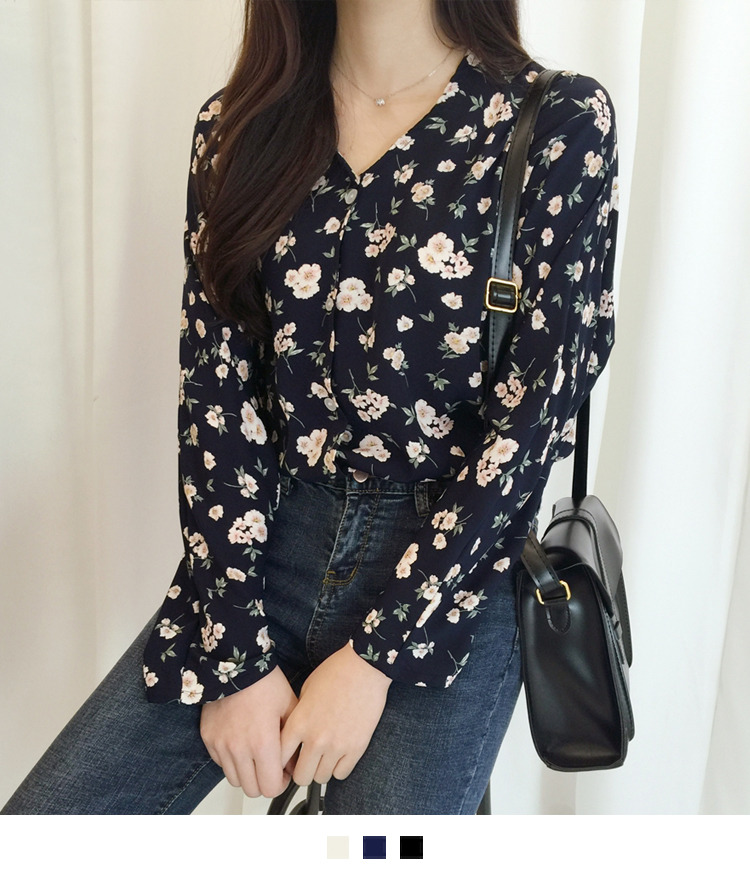 Floral V-Neck Button-Front Blouse