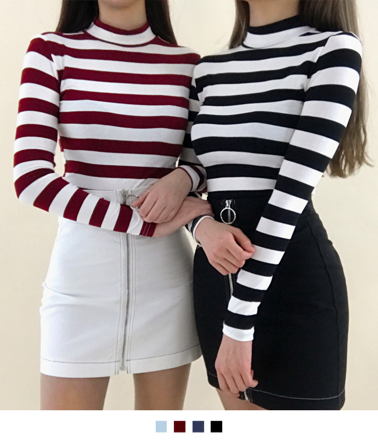 Striped Slim Fit Mock Neck Top