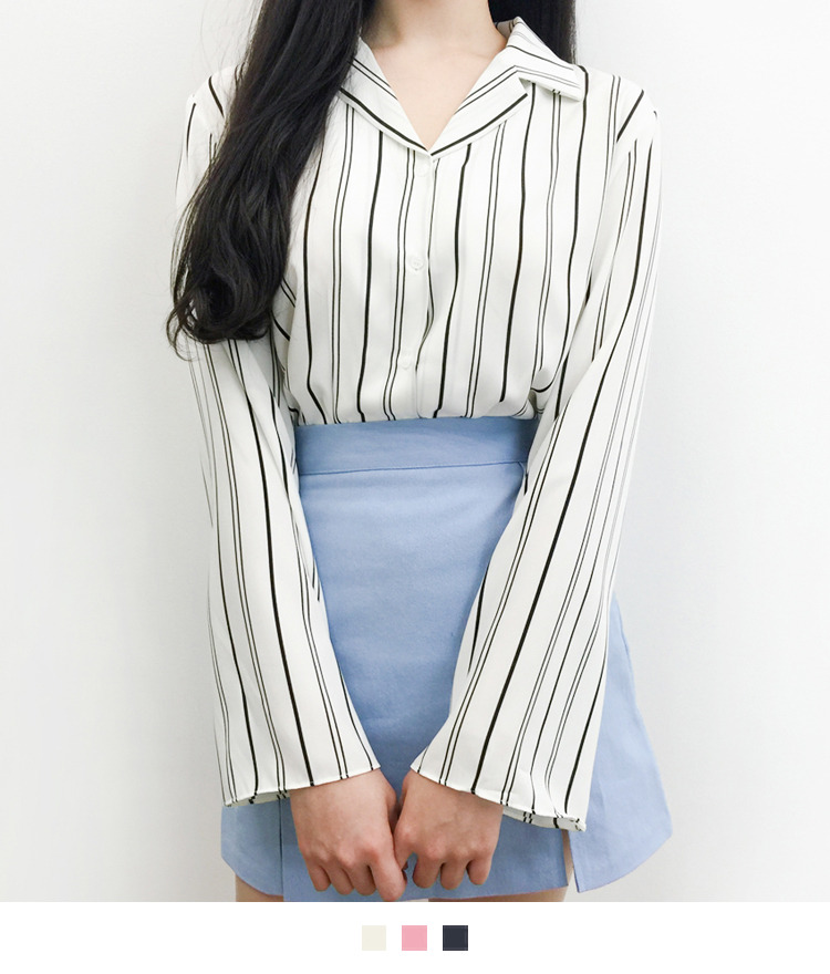 Striped Notch Collar Blouse
