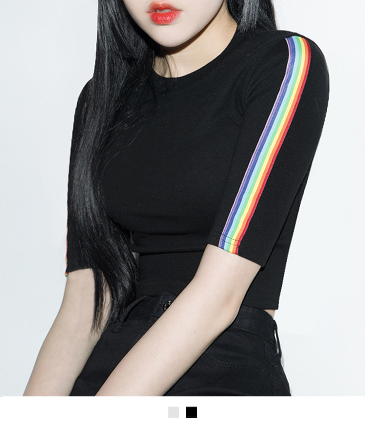 Rainbow Sleeve Panel Crop Top