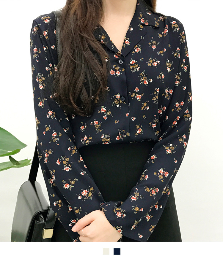 Flower Print Notch Collar Blouse