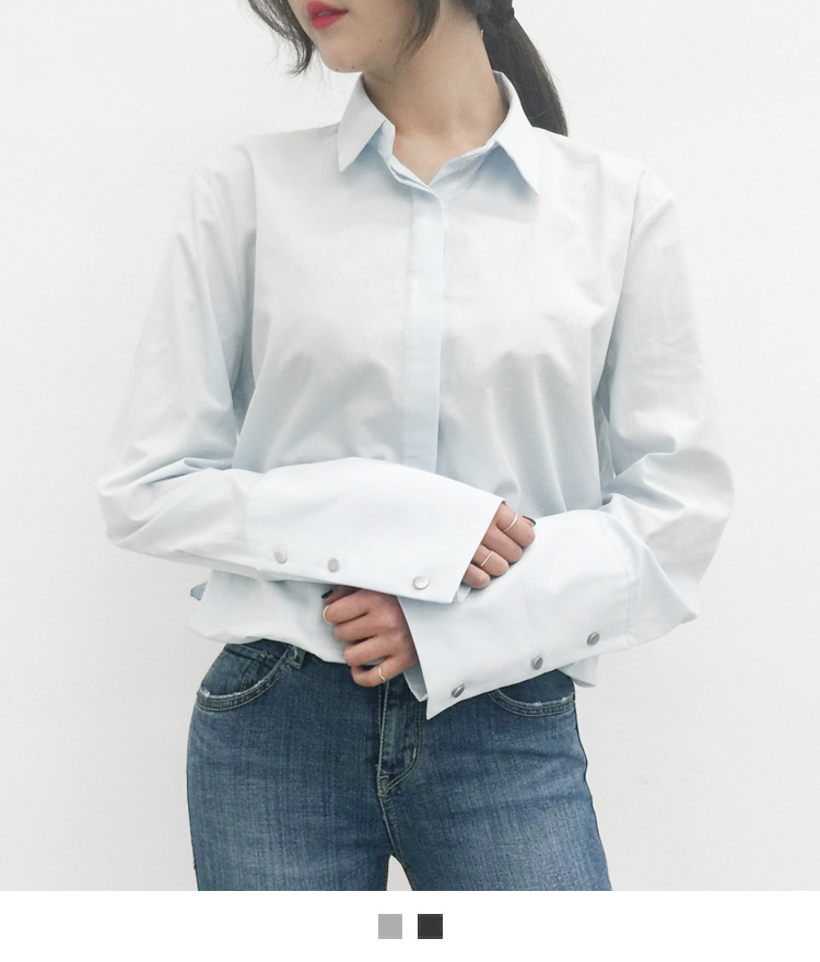 Solid Tone Wide Cuff Shirt