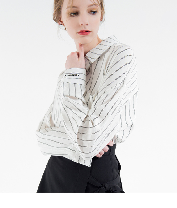 Embroidered Detail Striped Shirt