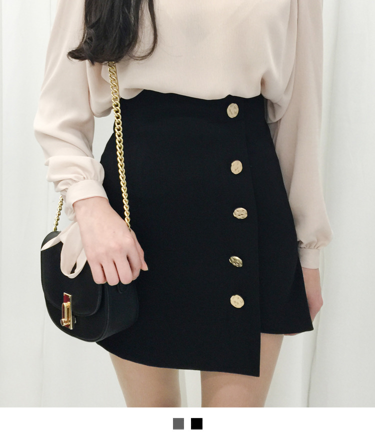 Gold Button Faux Wrap Mini Skirt