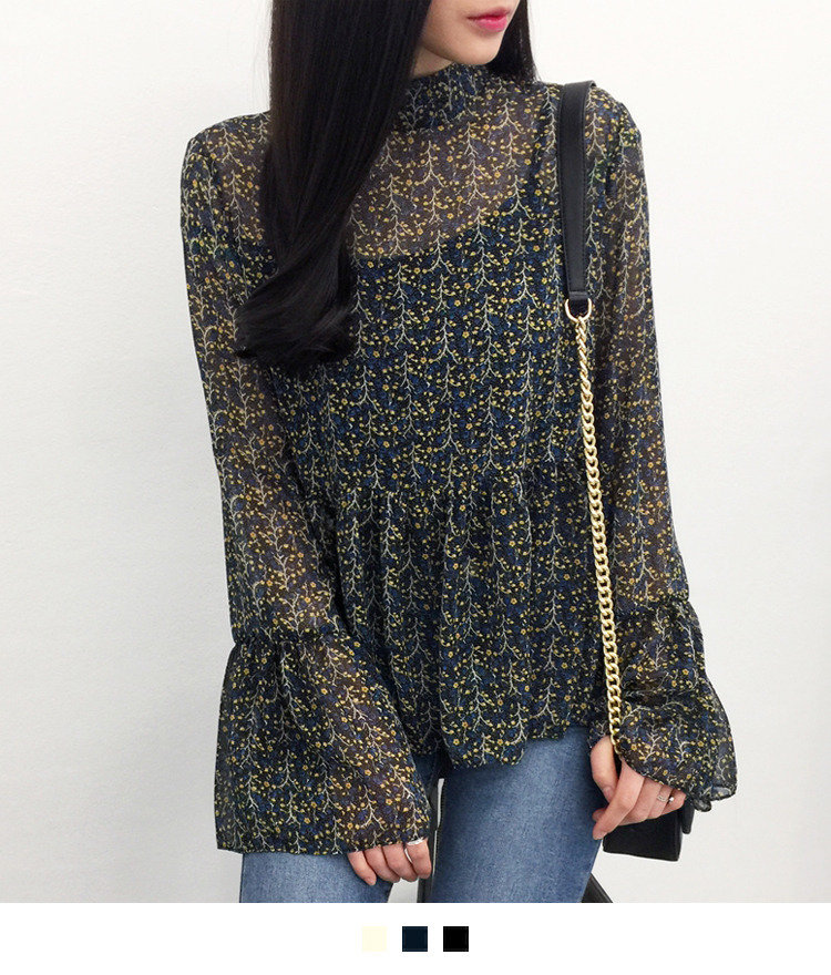 Sheer Floral Ruffled Hem Blouse