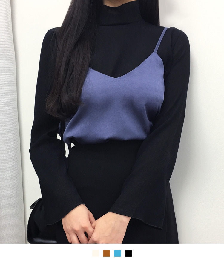 Back Zip High Neck Blouse