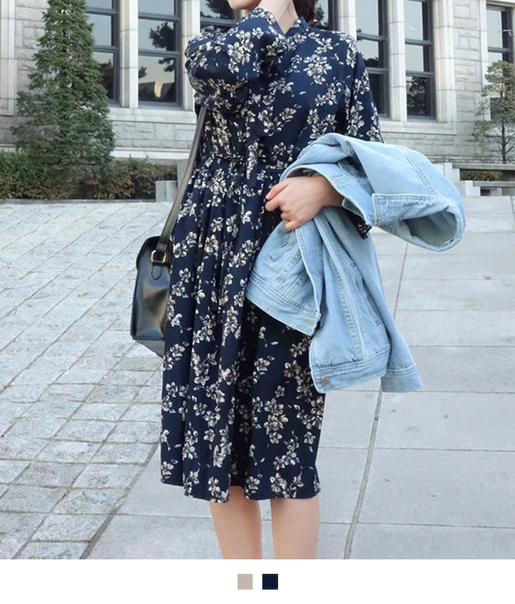 Drawstring Waist Detail Floral Midi Dress
