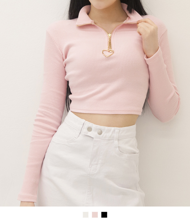 Heart Zipper Pull Crop Top