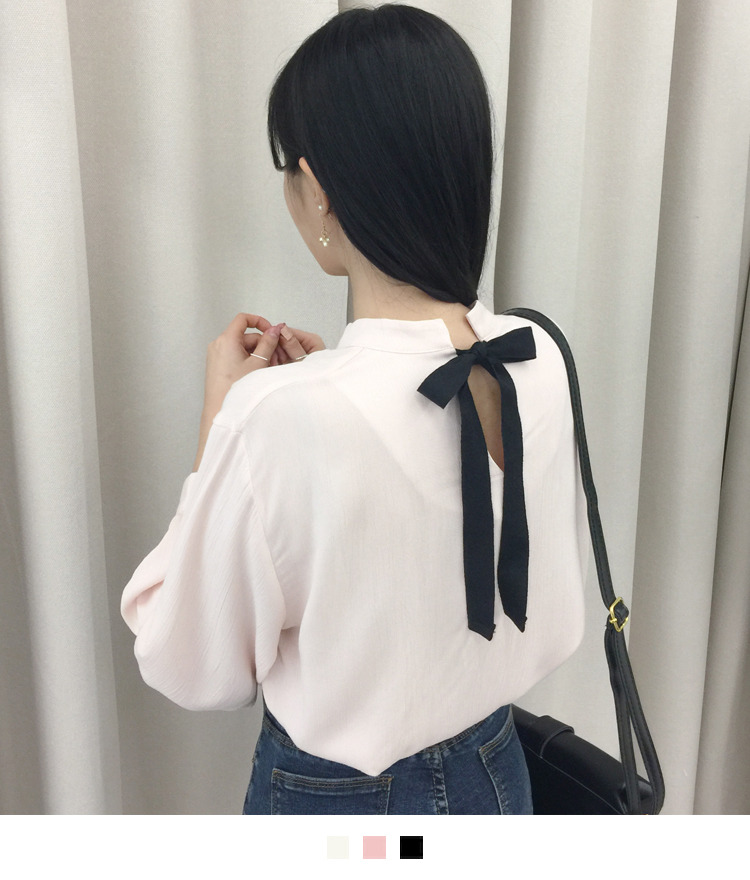 Contrast Ribbon Crinkled Blouse