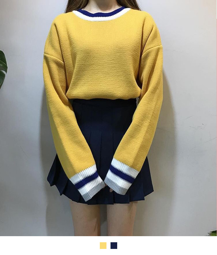Striped Trim Round Neck Knit Sweater