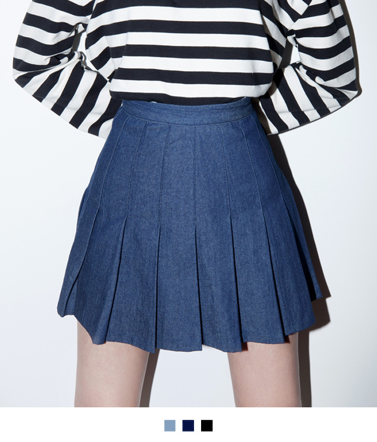Denim Pleated Mini Skort