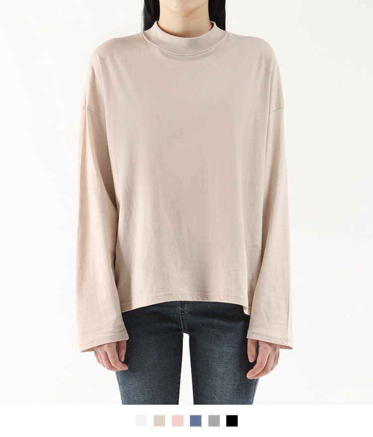 365 BASICPlain Mock Neck Top