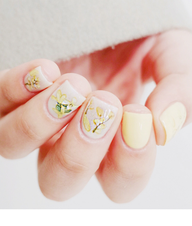Forsythia Themed Nail Art Water Decal
