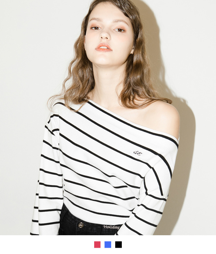 Embroidered Detail Striped Off-Shoulder Top