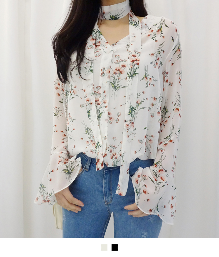 Sheer Floral Blouse With Matching Strap Accent