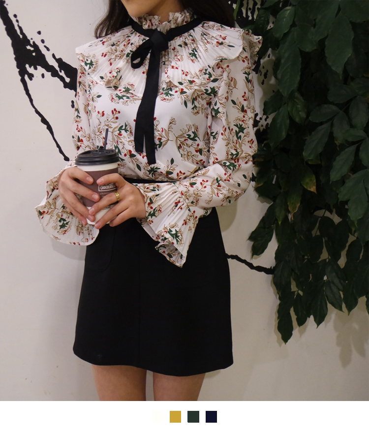 Ribbon Neck Floral Print Blouse