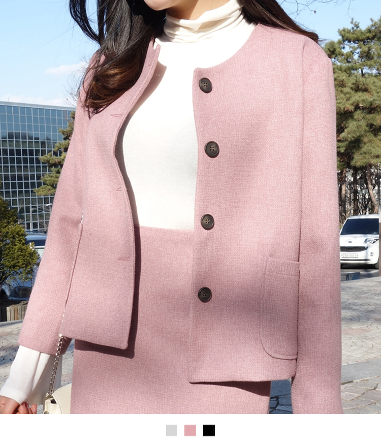 Collarless Button-Front Jacket