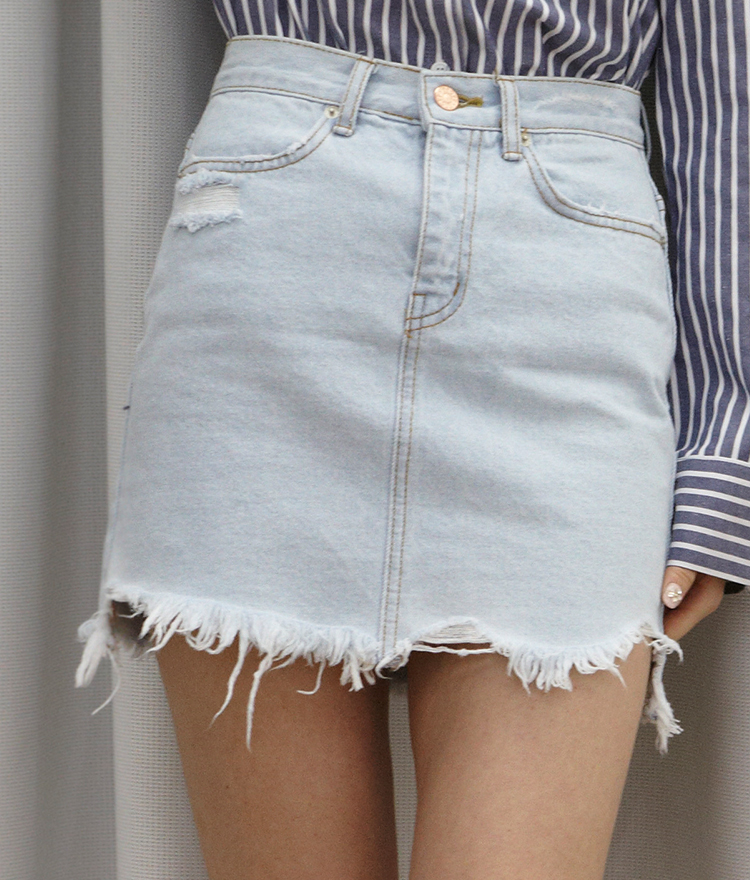 Light Wash Distressed Denim Mini Skirt