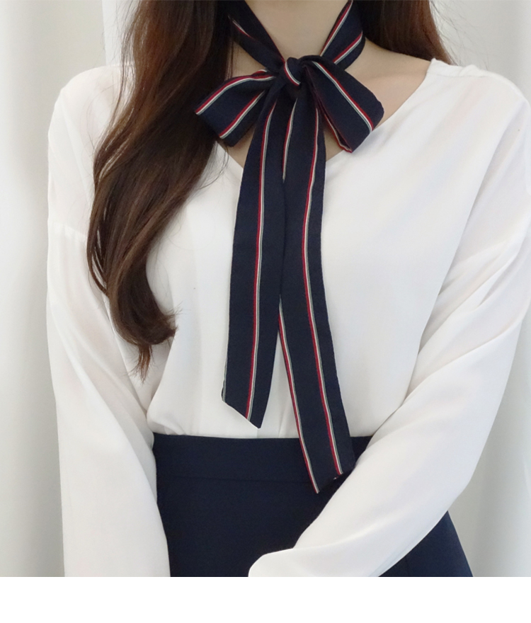 Navy Striped Self-Tie Strap