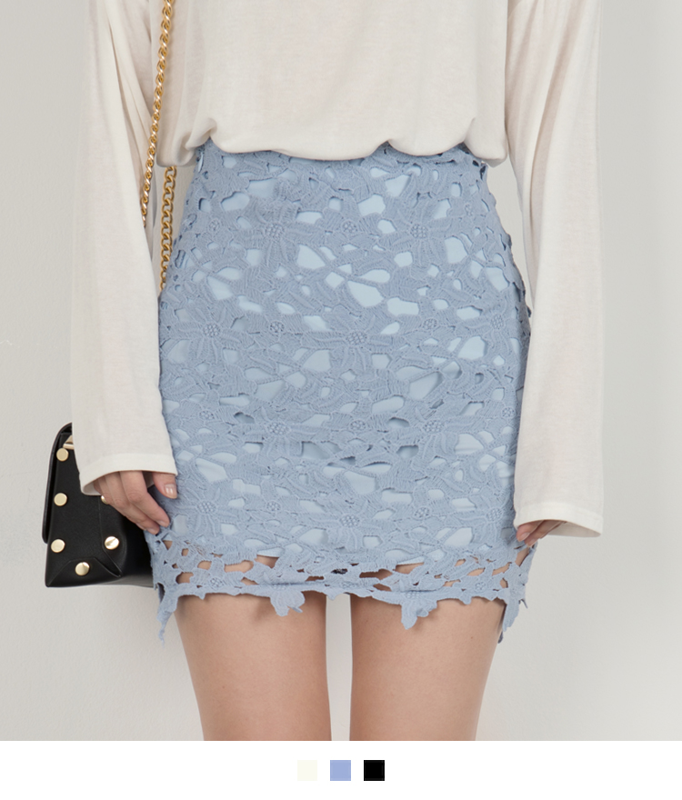Floral Lace Overlay Mini Skirt