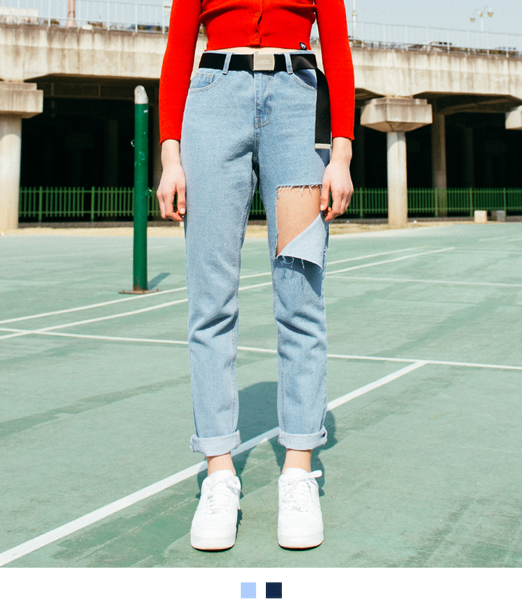 Square Cut-Out Detail Boyfriend Jeans