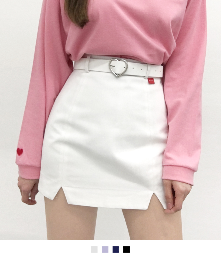 HEART CLUBHeart Patch Slit Detail Mini Skirt