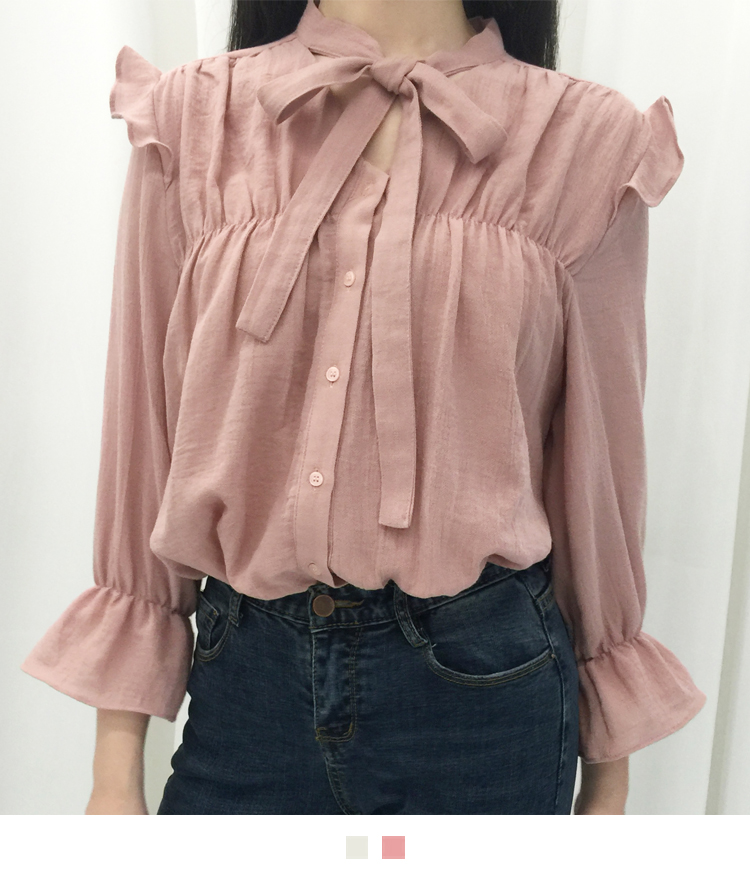 Tie-Neck Detail Frilled Shoulder Blouse