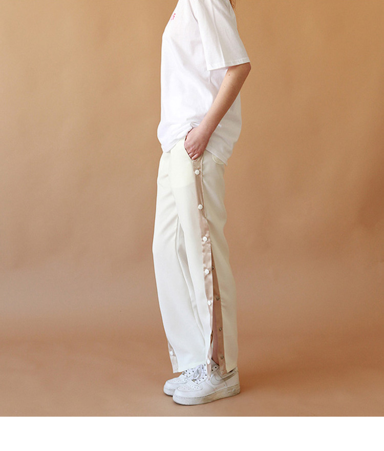 Snap Button Side Panel Pants