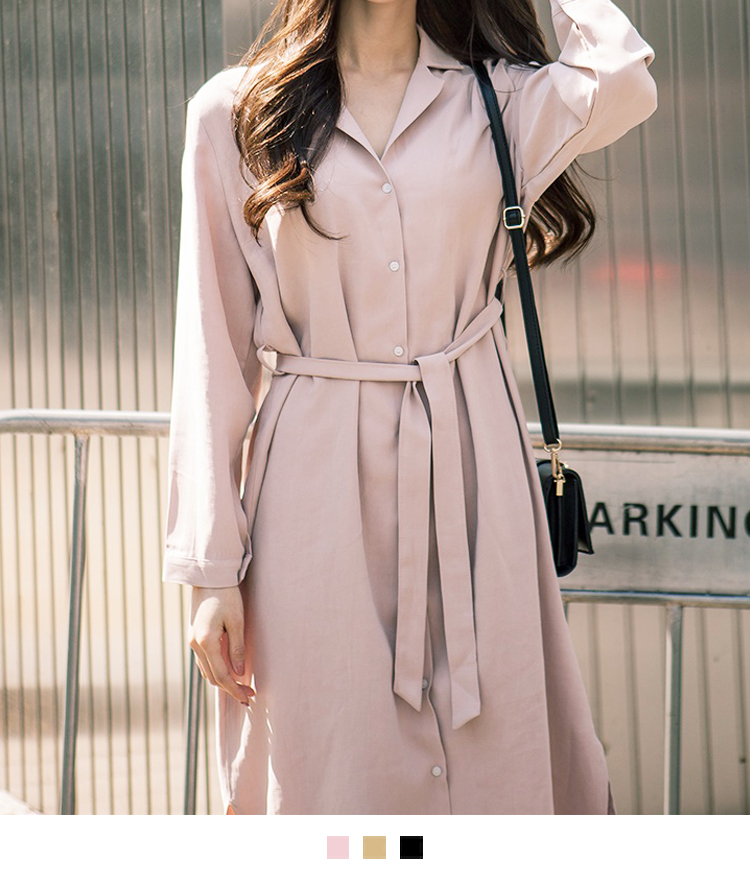 Button-Front Belted Midi Dress